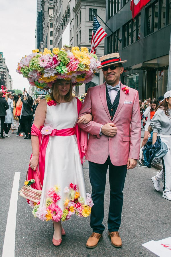 costumed couple at 5th avenue easter parade nyc