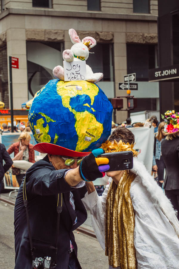 joy to the world bonnet at 5th avenue easter parade nyc