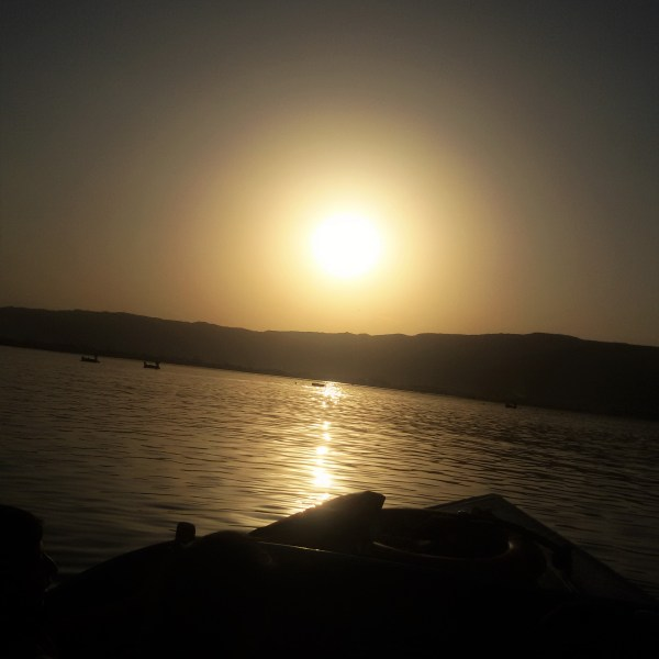 Silhouette of sunset at Ajmer Lake