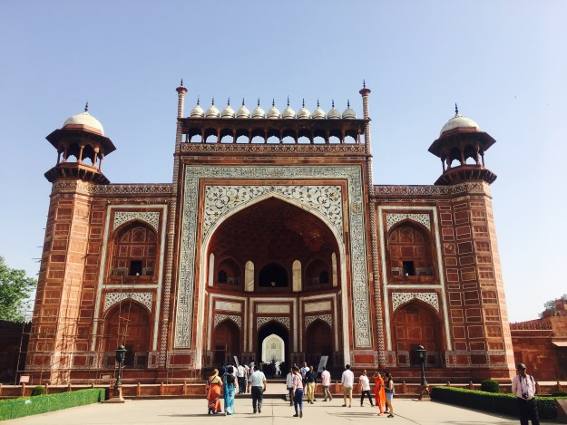 entry of the Taj Mahal built of red sandstone
