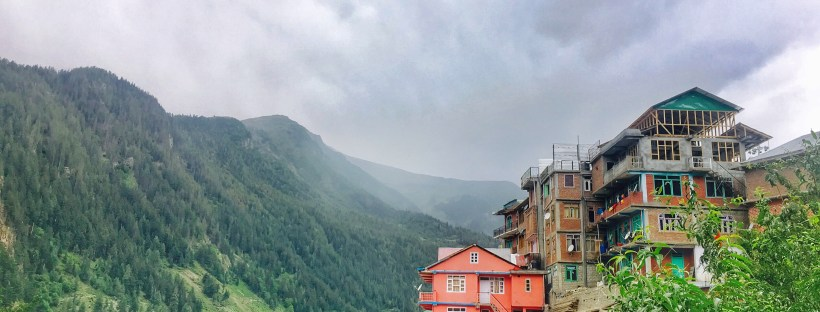 Homes in hill top in Sangla valley Himachal Pradesh India
