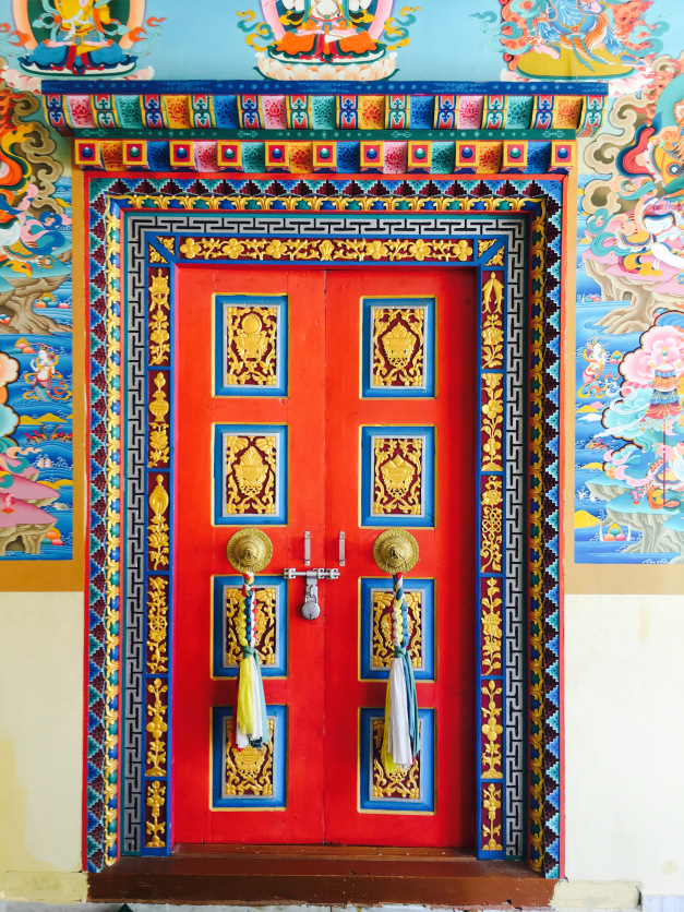Door of monestary Sangla valley Himachal Pradesh India