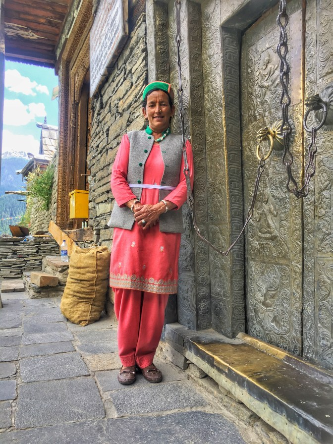 The priest lady at kamru fort sangla valley Himachal Pradesh India