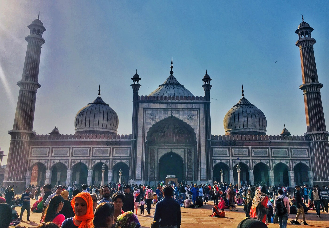 The Prayer Hall building of Jama Masjid    The largest mosque in India
