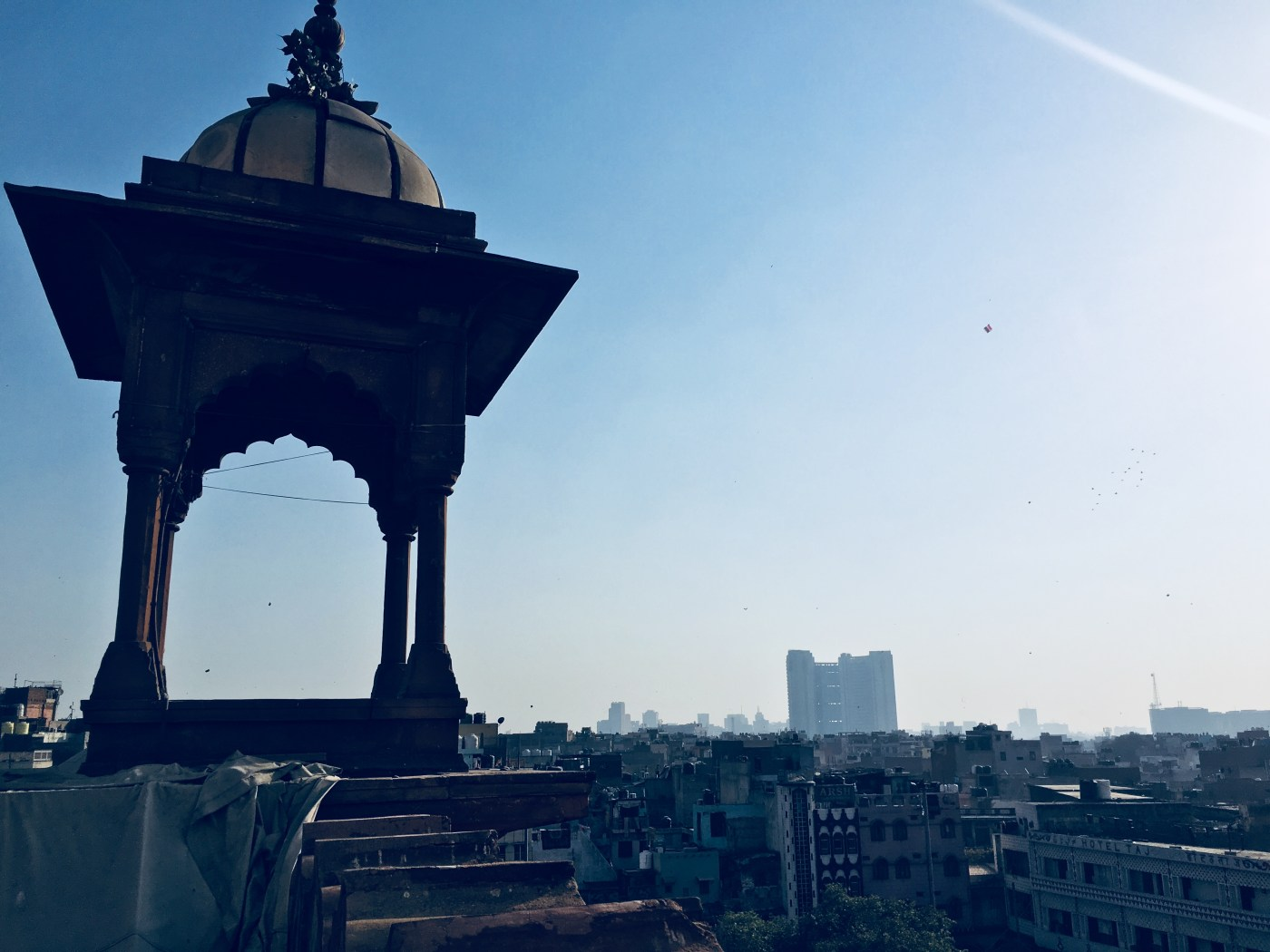 Views of Delhi from base of the Minaret of Jama Masjid   The largest mosque in India
