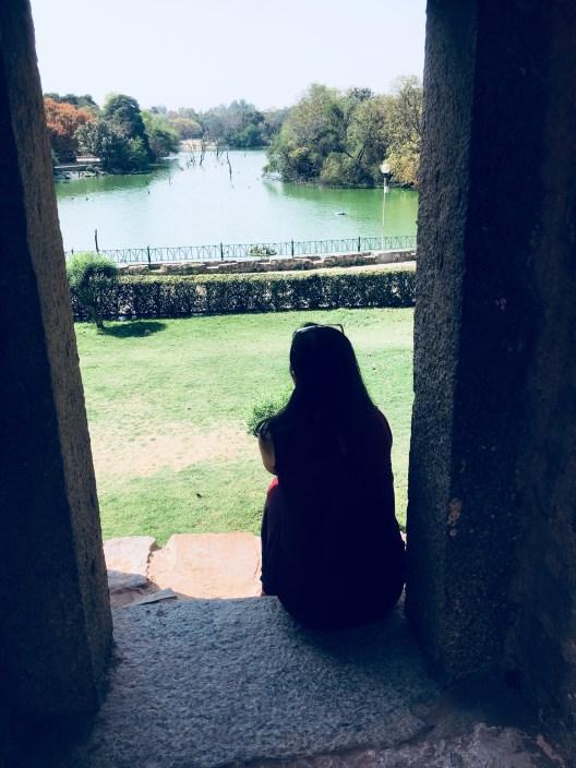 Looking at the lake at The Hauz Khas Fort
