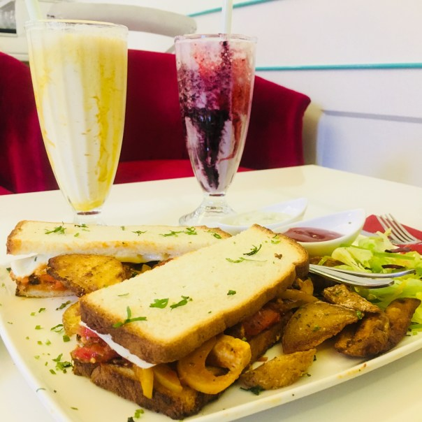 The Crown Patisserie Chandigarh - Sandwich and drinks
