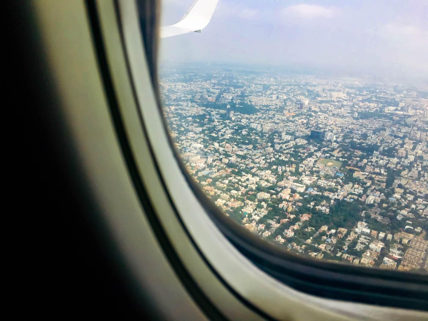 Jet Airways Window Close up