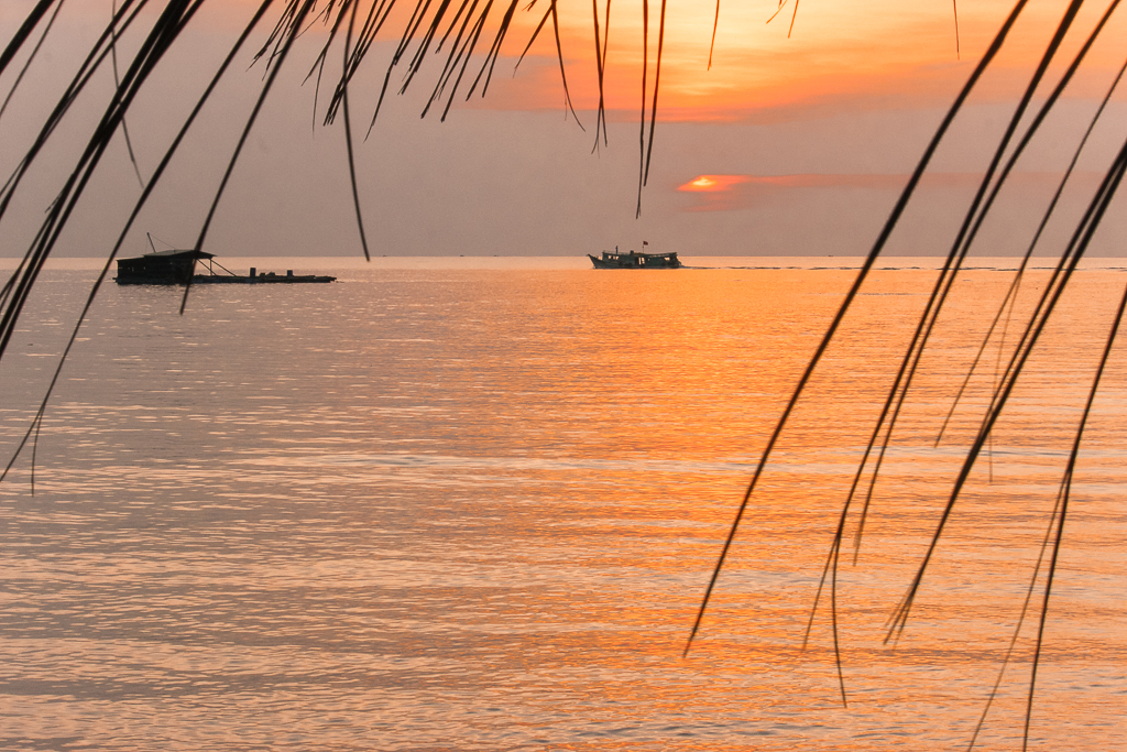 A beautiful orange sunset at Phu Quoc Island in Vietnam