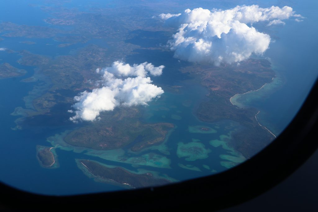 Filipijnse eilanden vanuit het vliegtuig.