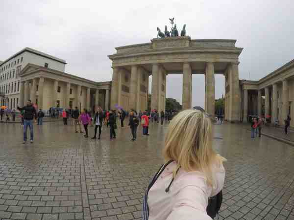 Berlin Brandenburg gate tourists girl