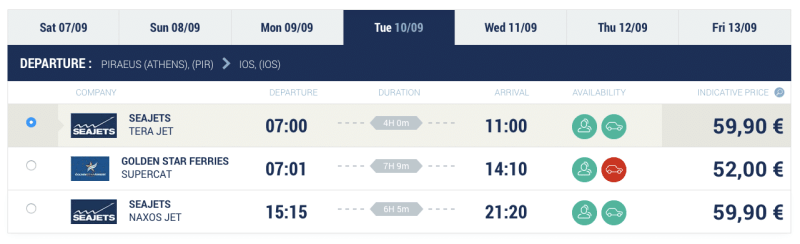 Lets Ferry athens to Ios times and prices