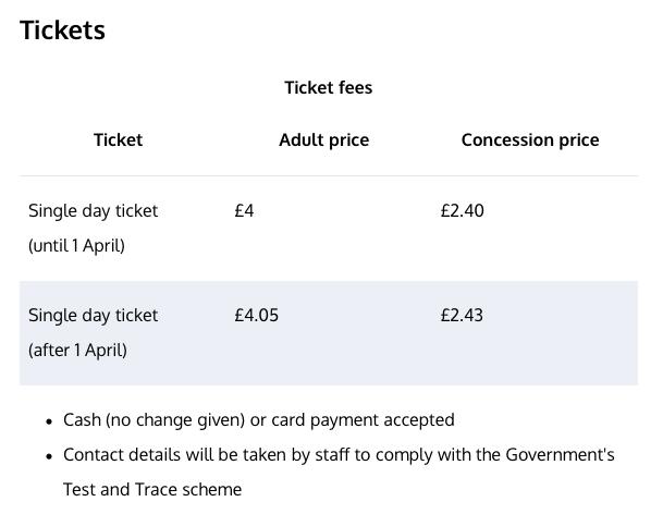 Hampstead Heath Bathing Ponds Ticket Prices