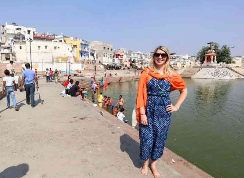planning a trip to India, ellie quinn at Pushkar Lake https