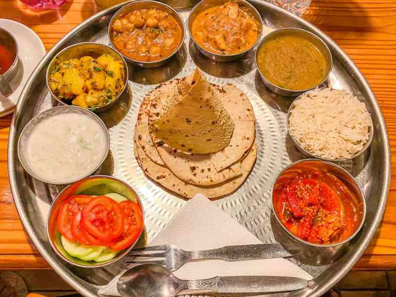 Large Thali in Sixth Sense Restaurant Pushkar