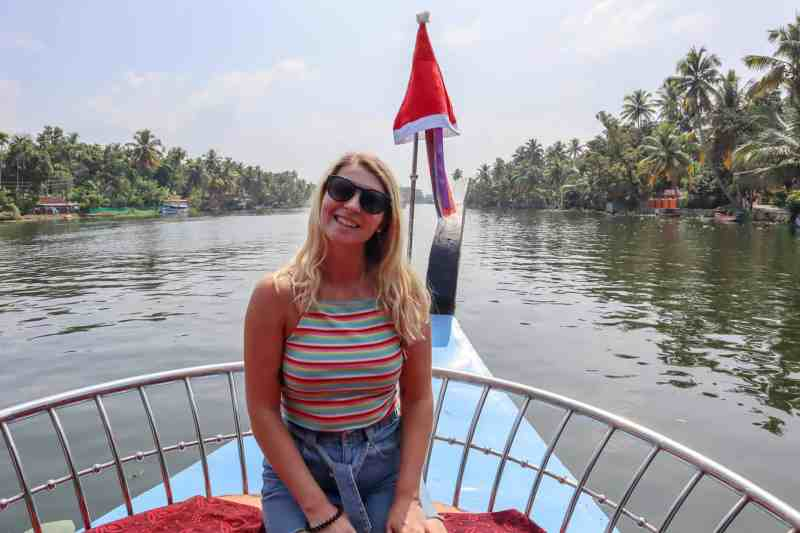 planning a trip to India, ellie quinn at christmas on backwaters of Kerala