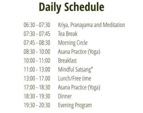 Earth Yoga Village Schedule
