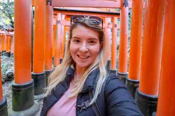 Kyoto day trip itinerary Torii Gates Selfie