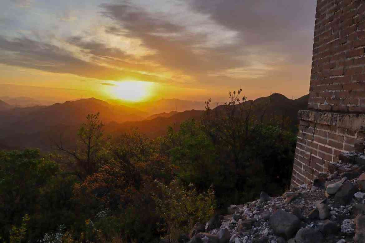 camping on Great Wall of China, sunrise