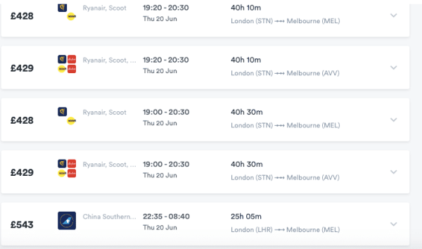 London to Melbourne Flight Price Southern China Airways