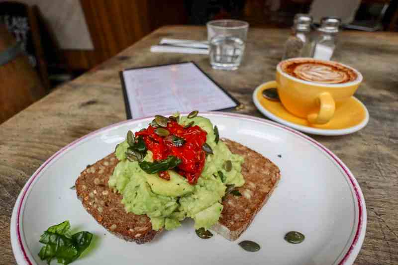 places to go in Shoreditch, The Breakfast Club Hoxton inside Avocado on Rye Bread