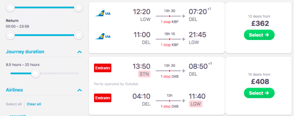 london to Delhi flights and prices