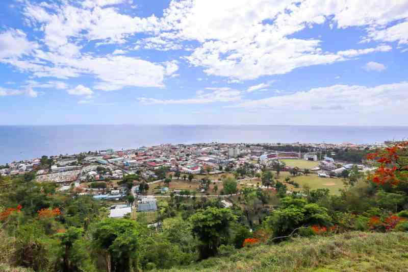 things to do in Dominica, Morne Bruce Viewpoint looking over Roseau City Dominica and Ocean