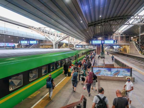 green train on platform in china train station