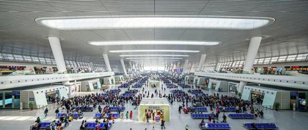 hangzhuo train station inside huge size