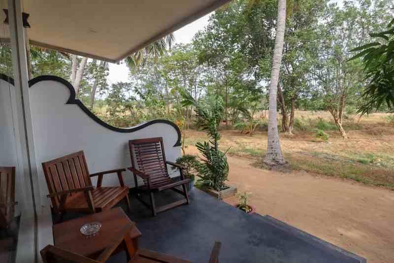 Kings Village Sigiriya Hotel Patio with seats | Negombo to Sigiriya by bus