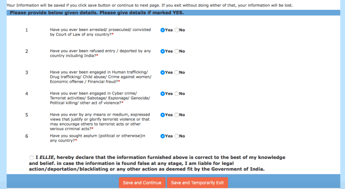 Indian visa online application questions screen | How To Apply For an Indian Tourist Visa