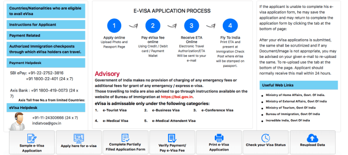 Indian visa online application homepage screen | How To Apply For an Indian Tourist Visa