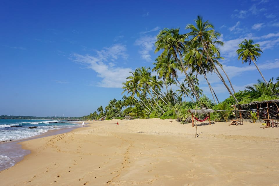 places to visit in Sri Lanka on first trip, white sand beach with blue sky and palm trees