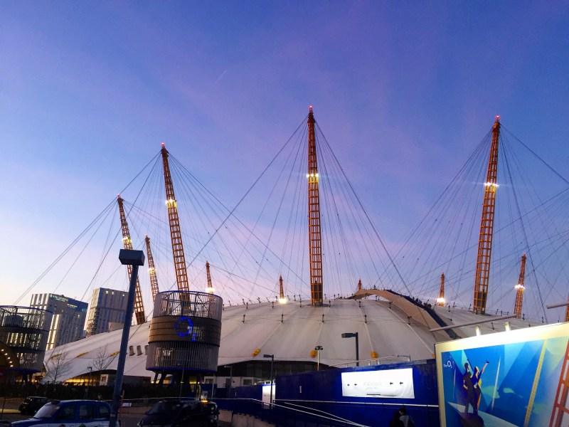o2 with pink sunset | things to do in london in winter