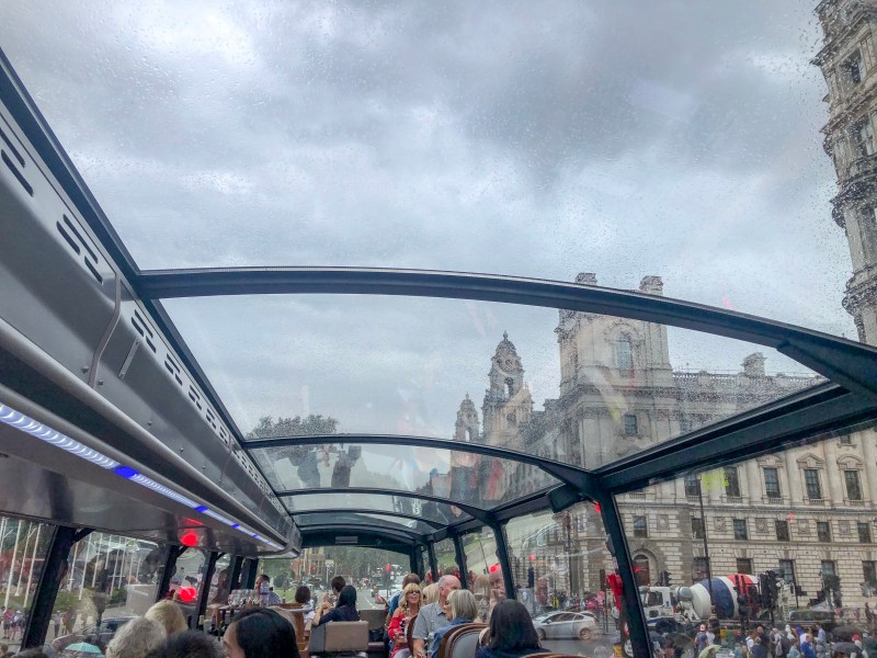 London in Winter, Afternoon tea on double decker bus with clouds