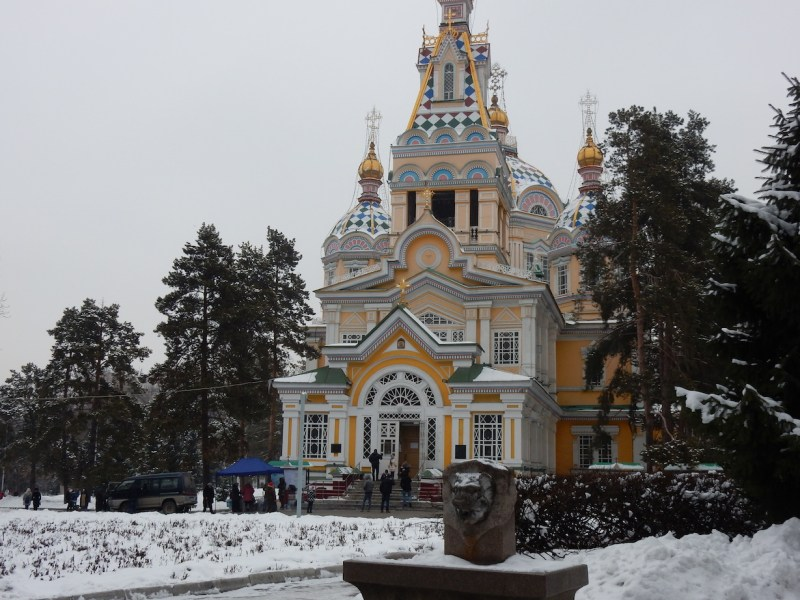 snowy Almaty Church | best places to travel in Asia December and January