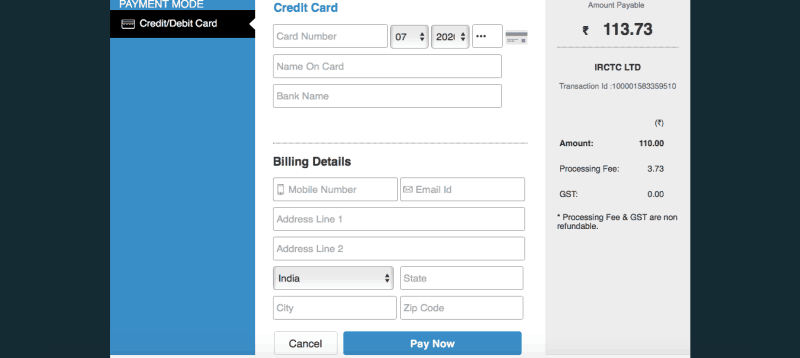 IRCTC payment page