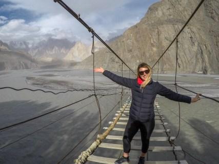 ellie quinn on husseini suspension bridge   Pakistan travel tips