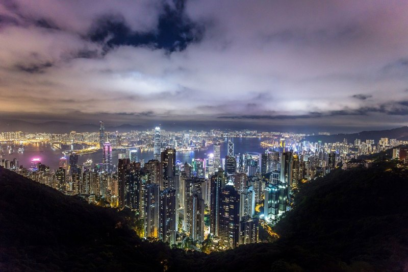 hong kong skyline at night | best places to travel in Asia December and January
