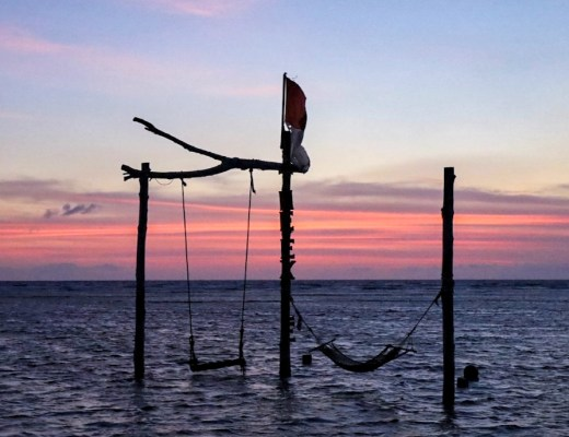 swing and hammock at sunset on Gili T the exile bar