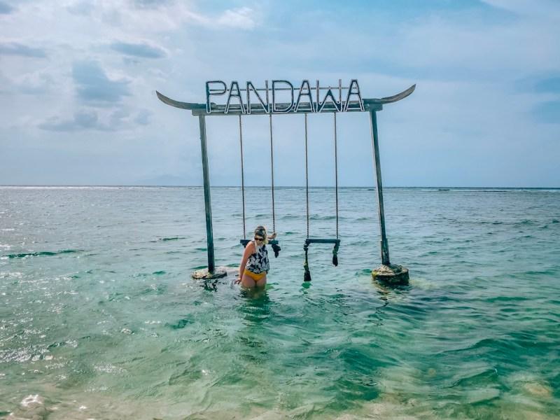ellie quinn on Pandawa swing Gili T   lombok itinerary