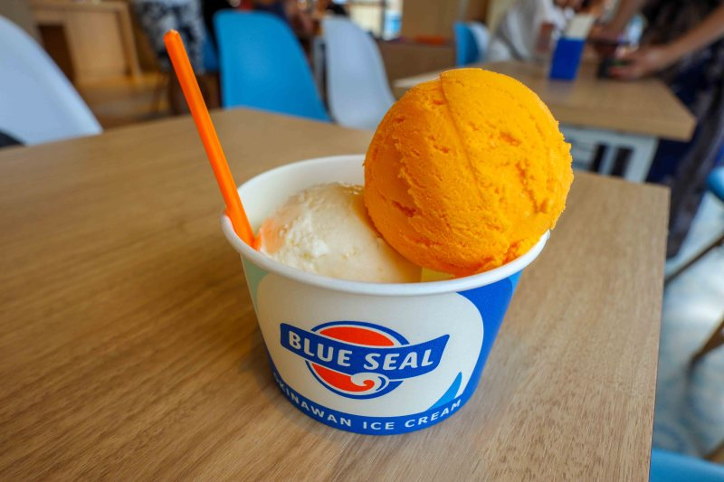 Sweet Potato ice cream from Blue Seal | things to do in Miyakojima island