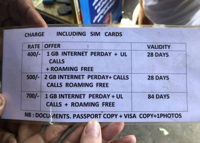 rates and prices of sim cards in India