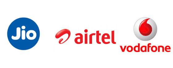airtel, vodafone and jio logos for Indian network providers