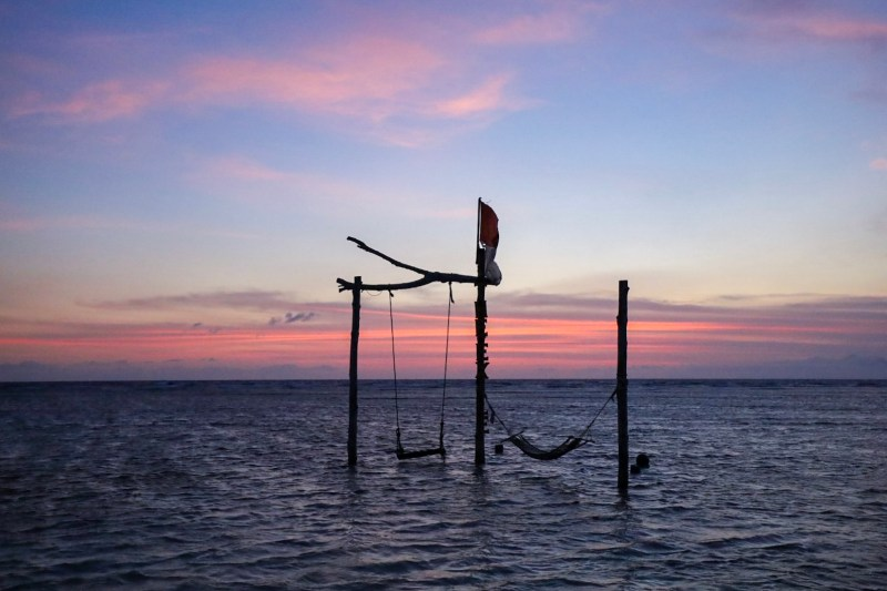 sunset and the exile bar swing and hammock Gili Trawangan