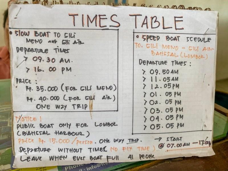 Gili Trawangan Boat Schedule | getting around the Gili islands