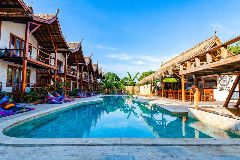 where to stay in Gili Trawangan, Voodoo Gili swimming pool and rooms