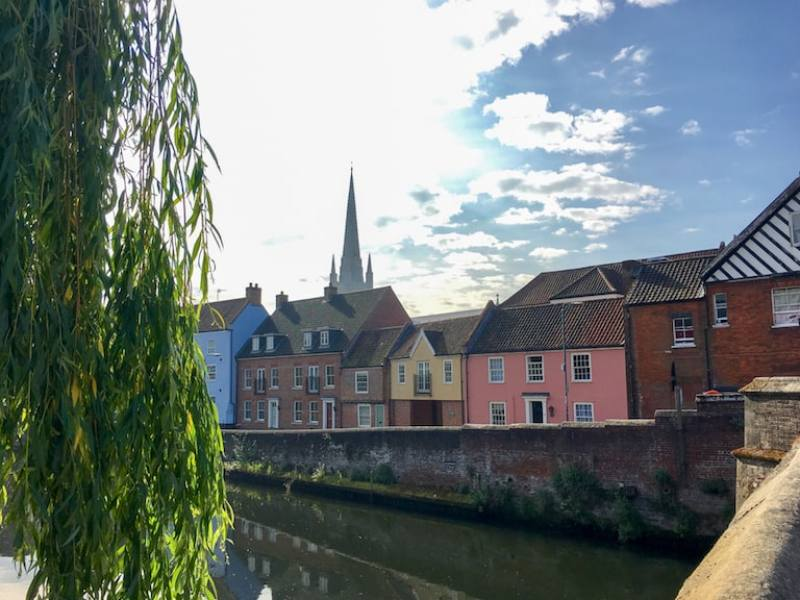Norwich river and colourful houses Norwich Day Trip From London by Train