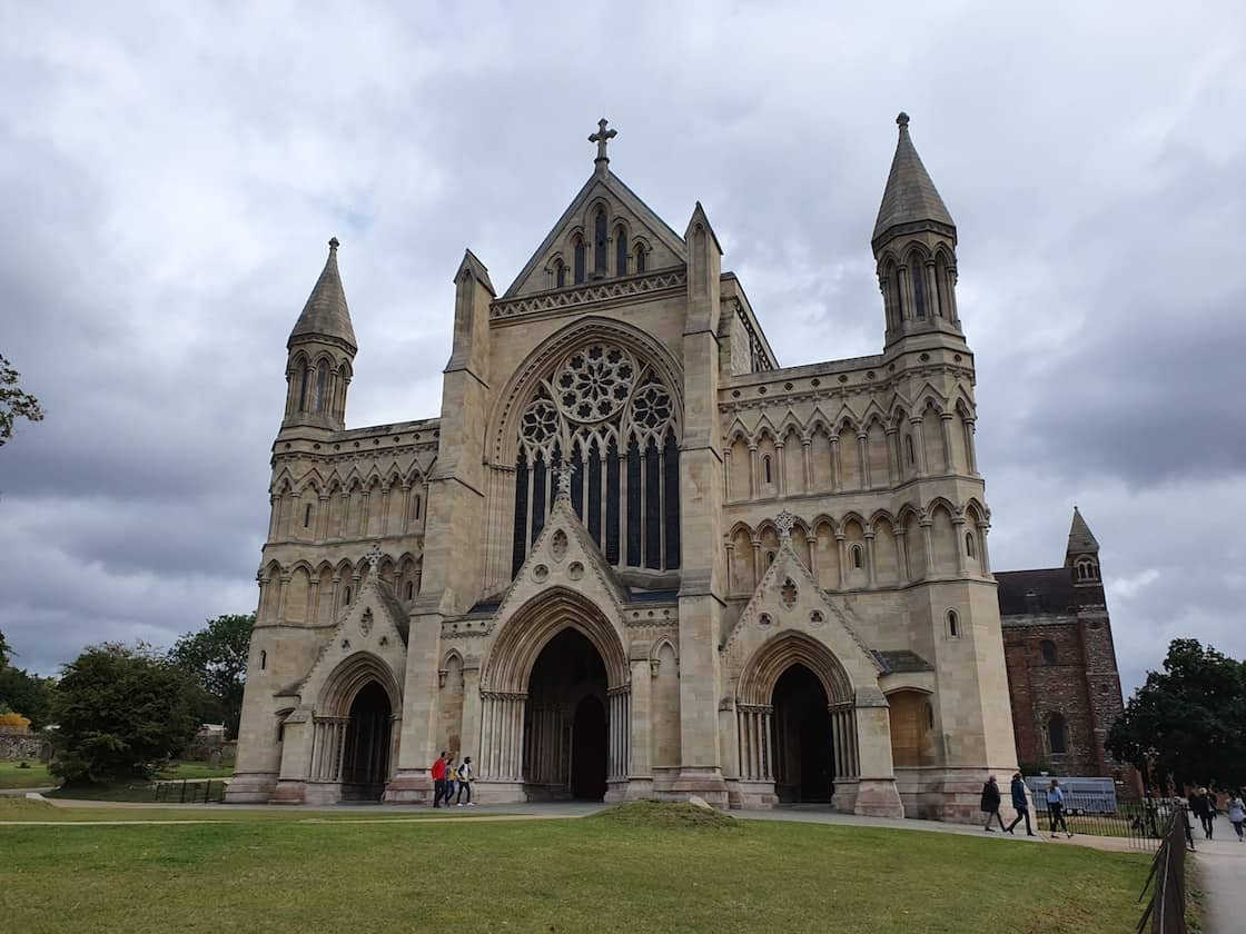 St Albans Cathedral grey sky St. Albans day trip from London by train