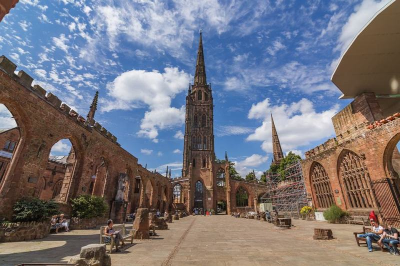 Coventry Cathedral open and blue sky | coventry day trip from London by train